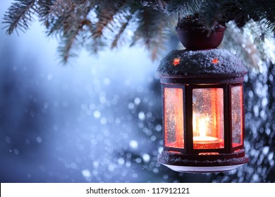 Christmas lantern with snowfall,Closeup.