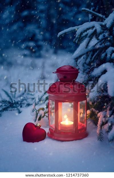 Christmas Lantern.Christmas Lantern Under Tree Toy Heart Stock Photo Edit Now