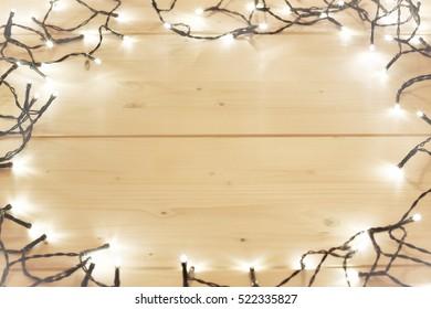 Christmas LED Lights On Wooden Planks