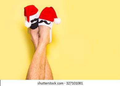 Christmas  legs concept background . creative idea