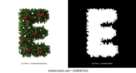 Christmas letter E. Christmas typography.