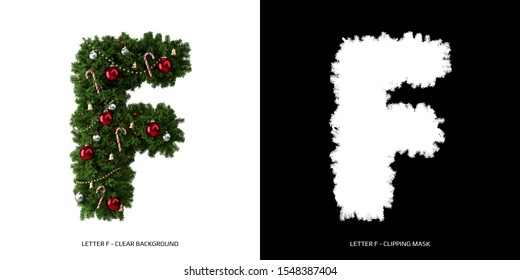 Christmas letter F. Christmas typography.