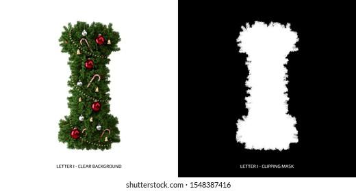 Christmas letter I. Christmas typography.