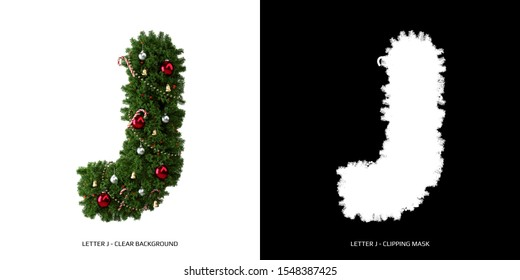 Christmas letter J. Christmas typography.