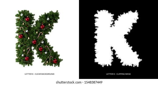 Christmas letter K. Christmas typography.