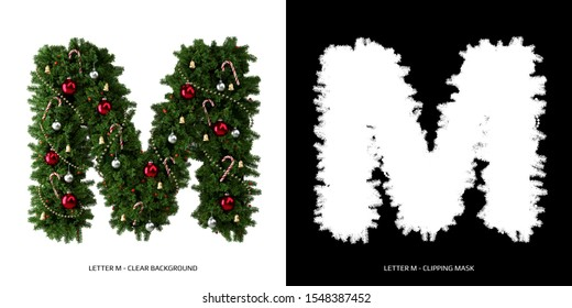 Christmas letter M. Christmas typography.