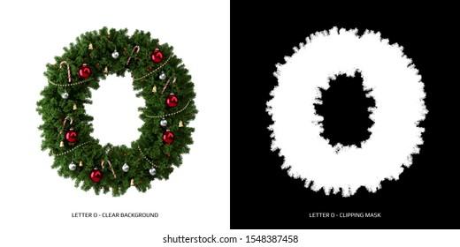 Christmas letter O. Christmas typography.