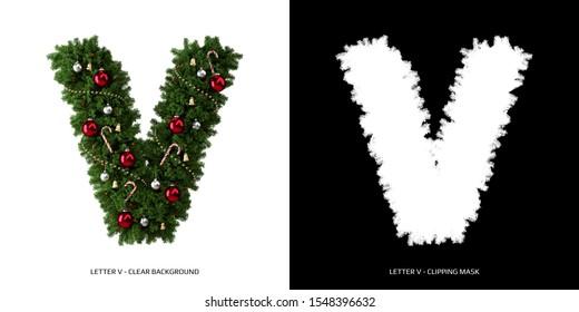 Christmas letter V. Christmas typography.