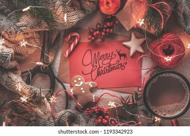 Christmas letter,fruits,coffee,gift boxes and warm sweater
