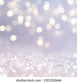 Christmas light background.  Holiday glowing backdrop. Defocused Background With Blinking Stars. Blurred Bokeh.