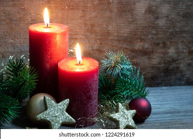 Christmas light with candles and decoration