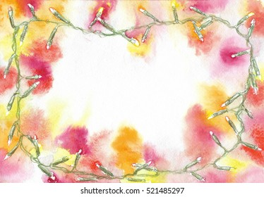 Christmas light garland with yellow and red lights on the edge of a rectangular sheet with space in the center. Watercolor background frame.