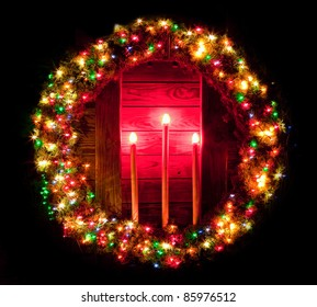 Christmas Light Wreath Surrounding a Wooden Altar with Three Candles