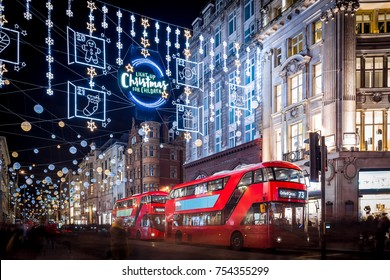 Christmas lights 2017 on Oxford street, London, UK