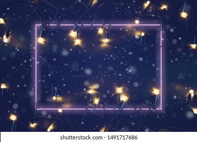 Christmas lights background with neon frame. Merry christmas background. New year