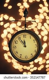 Christmas lights and clock