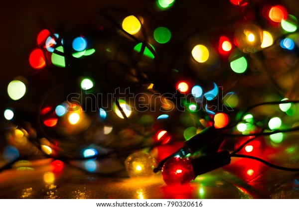 Colorful Christmas Lights Background.Christmas Lights Closeup Christmas Background Lights Stock