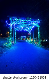 Christmas lights decoration on the pathway at Lights at Lafarge in Coquitlam, British Columbia, Canada