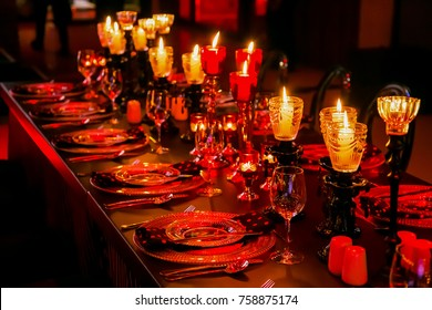 Christmas lights and decorations for a party event or gala dinner with candles and lamps