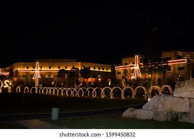 Christmas lights and decorations in Tirana, Albania