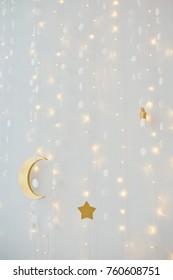 Christmas lights, moon and stars