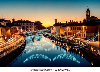 Christmas lights at Navigli Milano Italy - winter xmas time