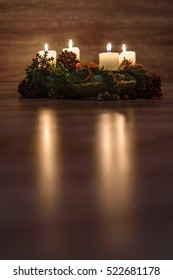 Christmas lights on Advent wreath