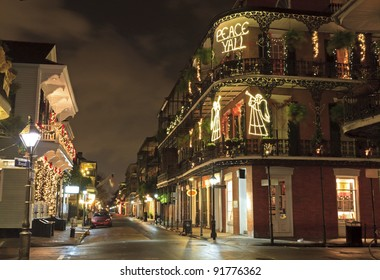 Christmas Lights on the corner of Royal and Dumaine Streets spell out a very Southern greeting in the French Quarter of New Orleans