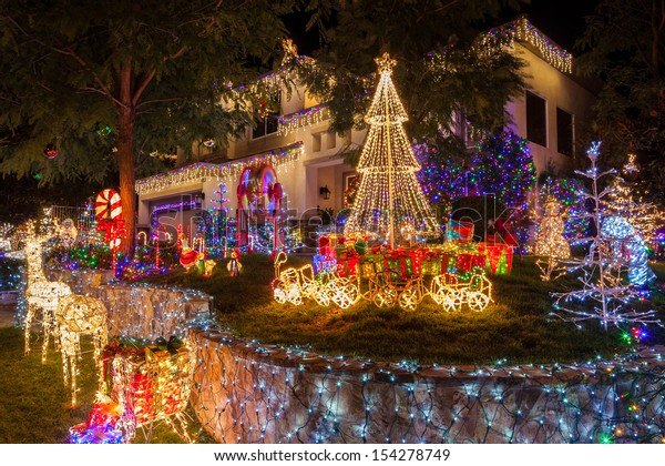 Christmas lights on home in Southern California.