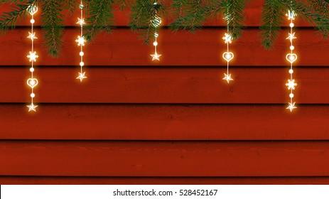 Christmas lights on ocher wooden wall - 3d illustration
