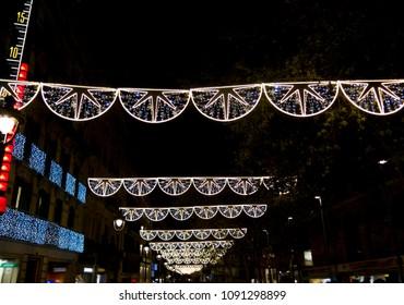 Christmas lights on a street of Barcelona city