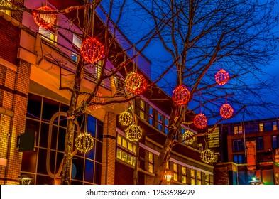 Birmingham Christmas Lights.Christmas Lights On Side Street Birmingham Stock Photo Edit