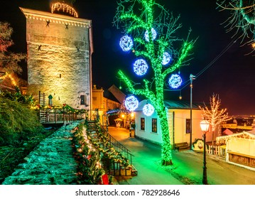 Christmas lights on Upper towen in zagreb Croatia on Advent 2018
