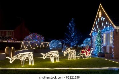 Christmas Lights outside on a House
