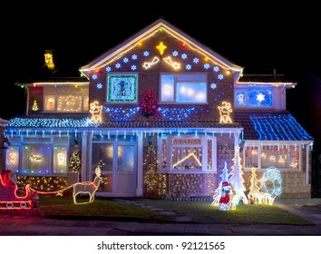 Christmas Lights outside on a House