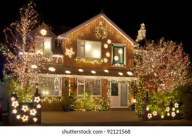 Christmas House Decoration.Decorated House Christmas Lights Stock Photos Images