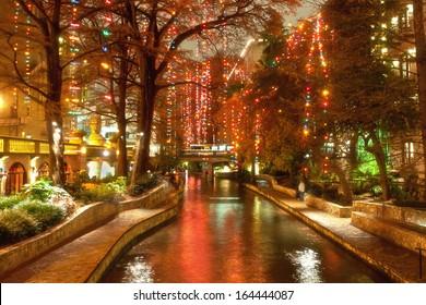 Christmas lights at riverwalk in San Antonio, Texas, USA