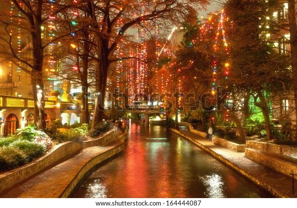Riverwalk San Antonio Christmas.Christmas Lights Riverwalk San Antonio Texas Stock Photo