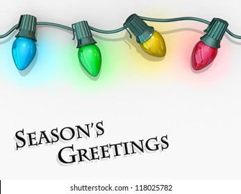 Christmas lights strong along the top of the image with the text Season's Greetings below.