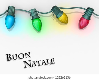 Christmas lights strong along the top of the image with Merry Christmas - Italian Language below.