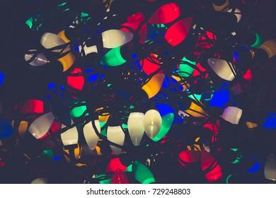 Christmas lights tangled up together background