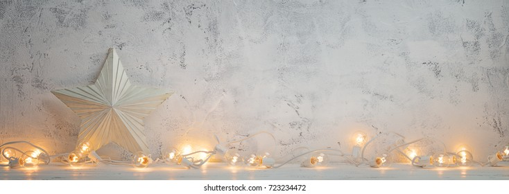 Christmas lights and white star,Christmas background.