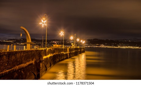 Christmas ligths night Lake Constance Bodensee