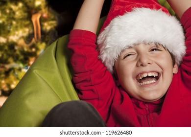 christmas little boy full of joy