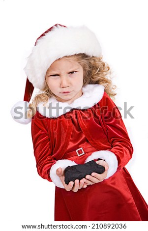 61df344e53b Christmas Little Girl Upset Getting Coal Stock Photo (Edit Now ...