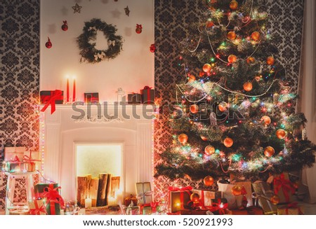 Christmas Living Room Decorations Beautiful Xmas Stock Photo (Edit ...