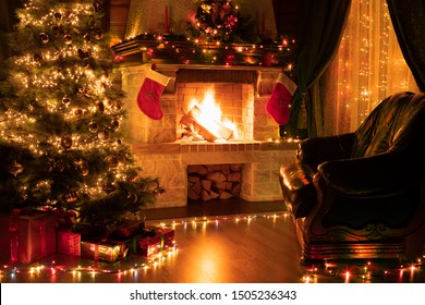 Christmas living room home interior