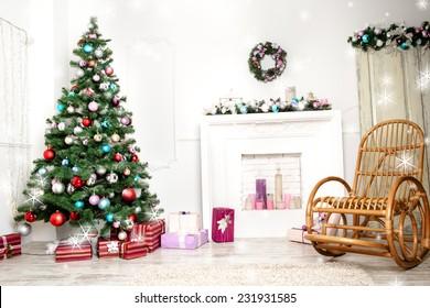 Christmas living room with star