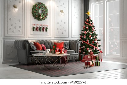 Christmas Living Room With A Christmas Tree And Presents Under It   Modern  Classic Style,