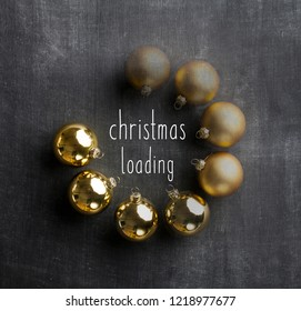 Christmas loading - Blackboard holiday decoration gold baubles